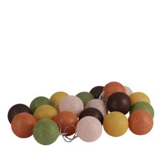 Guirlande lumineuse 20 boules Vintage - Diam. 6 cm - Multicolore