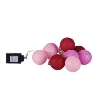 Guirlande lumineuse 10 boules - Diam. 6 cm - Rose
