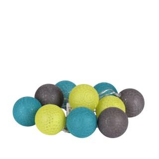 Guirlande lumineuse 10 boules - Diam. 6 cm - Vert, bleu et gris