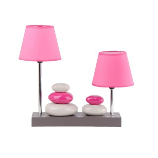 Lampe à poser double abat-jour Galets - 36 x H. 36 cm - Rose