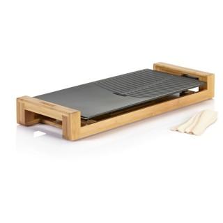 Plancha électrique en fonte d'aluminium et bambou Chef Duo - Thermostat réglable - 50 x 25 cm
