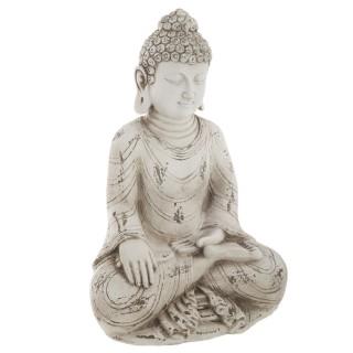 Statuette de Bouddha assis - H. 31 cm - Blanc vieilli