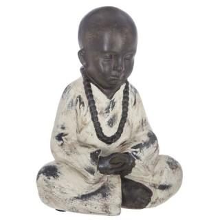 Statuette de Bouddha assis - H. 22 cm - Noir et blanc