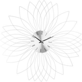 Pendule murale en métal Fleur - Diam. 50 cm - Argent