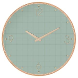 Pendule ronde effet bois - Diam. 39,5 cm - Vert