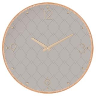 Pendule ronde effet bois - Diam. 39,5 cm - Taupe