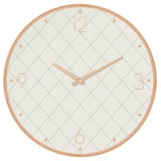 Pendule ronde effet bois - Diam. 39,5 cm - Ecru