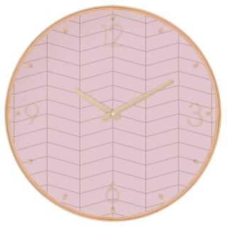 Pendule ronde effet bois - Diam. 39,5 cm - Rose