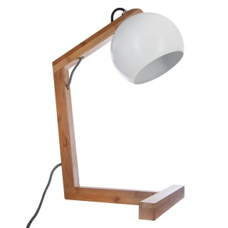 Lampe à poser en Bambou - H. 40 cm - Blanc
