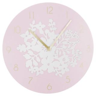 Pendule Fleurs - Diam. 30 cm - Rose