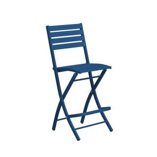 Chaise haute pliante de jardin Marius - 46 x H. 110 cm - Bleu