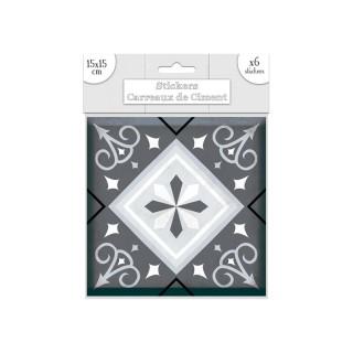 6 Stickers carreaux de ciment Losange - 15 x 15 cm - Gris