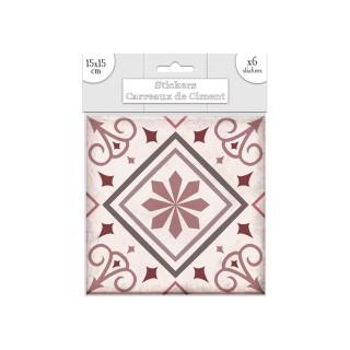 6 Stickers carreaux de ciment Fleurs - 15 x 15 cm - Rose