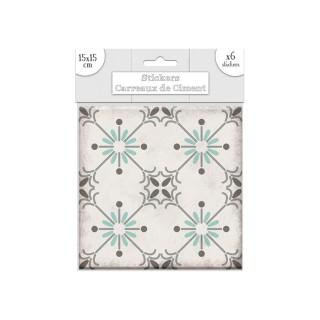 6 Stickers carreaux de ciment Soleil - 15 x 15 cm - Vert