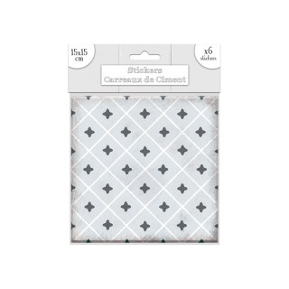 6 Stickers carreaux de ciment Losange - 15 x 15 cm - Gris