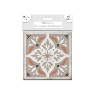 6 Stickers carreaux de ciment Losange - 15 x 15 cm - Taupe