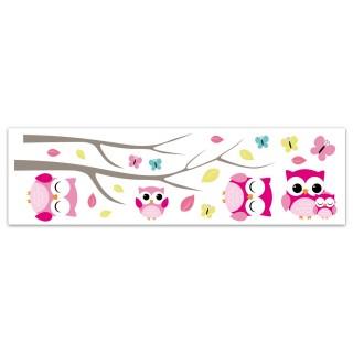 Sticker enfant Chouettes - 70 x 20 cm - Blanc et rose