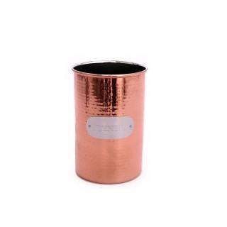 Pot à ustensiles en Inox martelé - H. 17,5 cm - Couleur cuivrée