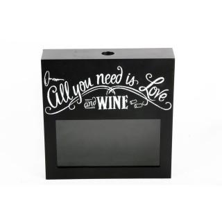Boîte pour bouchons de vin Déco - 25 x 25 cm - Noir