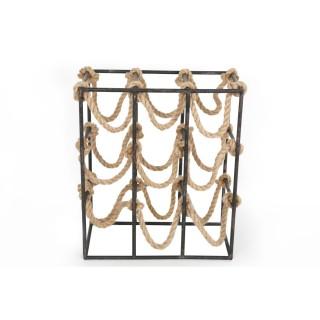 Casier 9 Bouteilles en métal et corde Moussaillon - 36 x H. 41 cm - Noir
