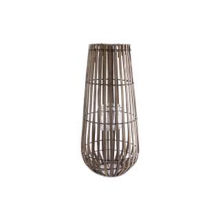 Lanterne haute en bois Celia - H. 43 cm - Gris