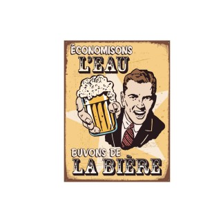 Plaque de décoration en métal Bière - 40 x 30 cm - Jaune