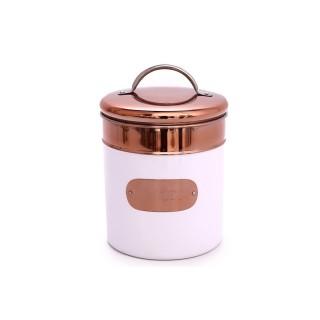 Boîte à biscuit en métal - H. 21 cm - Blanc