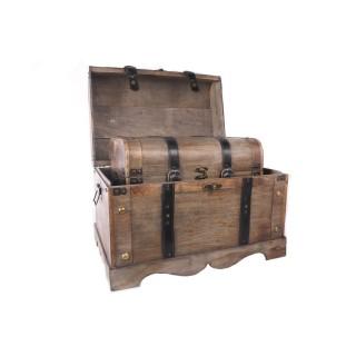 2 Malles de rangement en bois - 50 x H. 37 cm - Marron