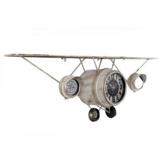 Pendule avec étagère Avion - 125 x H. 40 cm - Blanc cassé
