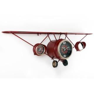 Pendule avec étagère Avion - 125 x H. 40 cm - Rouge