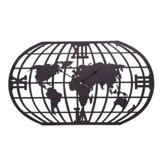 Pendule planisphère en métal - 100 x 58 cm - Noir
