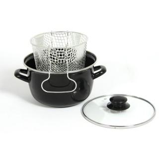 Mini-friteuse en acier avec couvercle en verre Mstyl - Diam. 20 cm - Tous feux