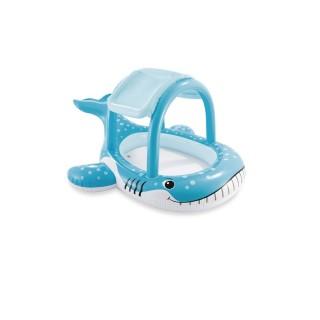 Piscine bébé gonflable avec ombrelle Baleine - 211 x 185 cm - Bleu