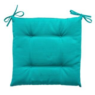 Galette de chaise 4 Boutons - 40 x 40 cm - Bleu émeraude