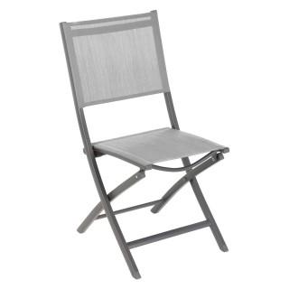 Chaise de jardin pliante Essentia - Aluminium et texaline - Gris galet