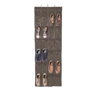 Rangement chaussures à accrocher - 24 poches - 55 x 162 cm - Marron