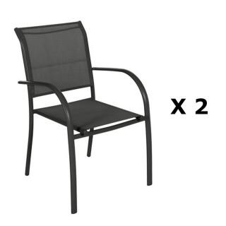 2 Chaises de jardin Piazza - H. 88 cm - Noir