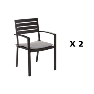2 Fauteuils empilables Figari - Aluminium - Noir