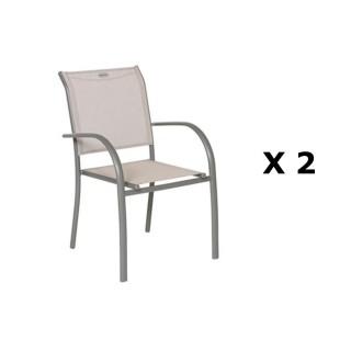 2 Chaises de jardin Piazza - H. 88 cm - Taupe et mastic