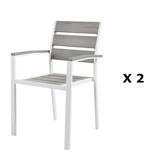 2 chaises de jardin Boyos - Aluminium effet bois - Taupe