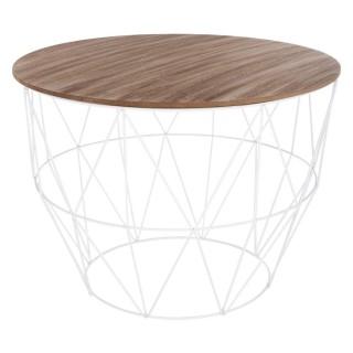 Table à basse filaire Atomic - Métal - Diam. 56 cm - Blanc