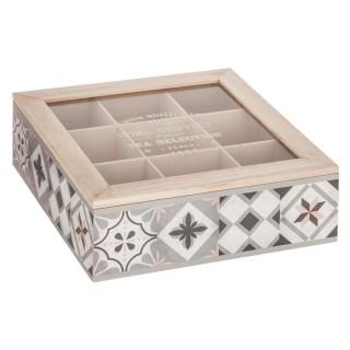 Boîte à thé 9 Compartiments Factory - 24 x 24 cm - Gris