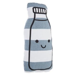 Coussin enfant Bouteille - 17 x 36 cm - Blanc et bleu