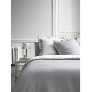 Housse de couette et 2 Taies d'oreiller Bicolore - 240 x 260 cm - Coton Percale - Gris clair et blanc