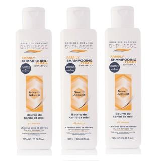Lot de 3 - Shampooing au Miel et Beurre de Karité Family - Cheveux Secs Et Abîmés - 750 ml
