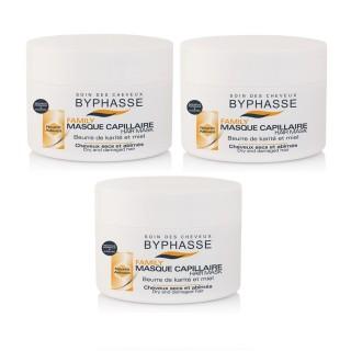 Lot de 3 - Masque capillaire au Miel et Beurre de Karité Family - Cheveux Secs Et Abîmés - 250 ml