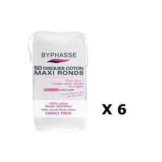 Lot de 6 - 50 Disques de coton - Maxi Ronds