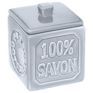 Pot à coton 100% savon - Céramique - Bleu gris