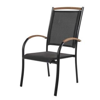 Chaise de jardin Sidari - Teck et texilène - Noir