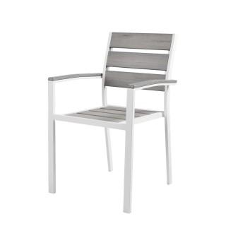 Chaise de jardin Boyos - Aluminium effet bois - Taupe
